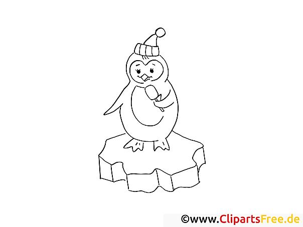 pinguin auf dem eis ausmalbilder gratis für kinder