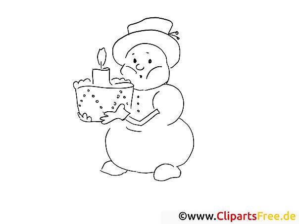 Schneemann mit Torte Ausmalbilder für Kinder kostenlos ausdrucken