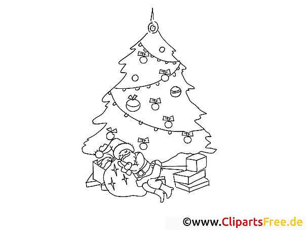 weihnachtsmann schläft unter tannenbaum ausmalbilder für