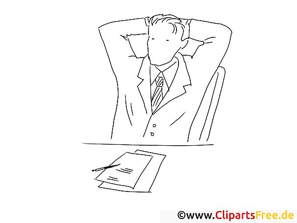 Mann im Büro - Bilder zum Ausmalen