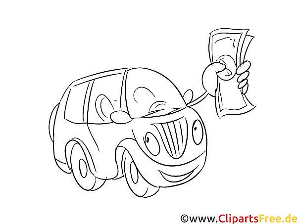 Auto-Kredit Ausmalbild, Bild, Grafik, Illustration