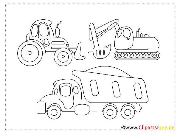 Baumaschinen Malvorlagen zum Ausdrucken und Ausmalen