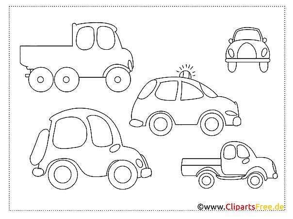 einfache ausmalbilder zum malen für kinder autos