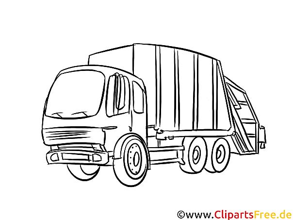 Müllwagen Bild schwarz-weiß, Vorlage zum Ausmalen