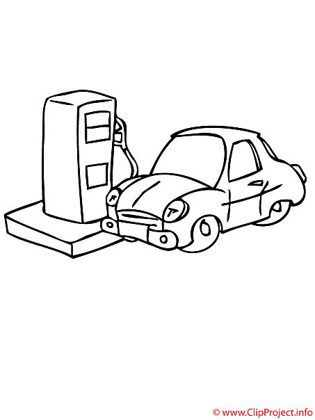Tankstelle Bild - Ausmalbild kostenlos