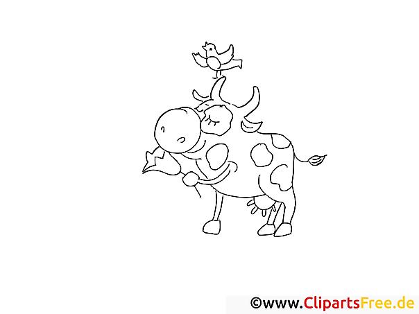 Ausmalvorlage Bauernhof Kuh