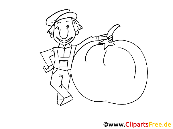 Bauer und Tomate Ausmalbild