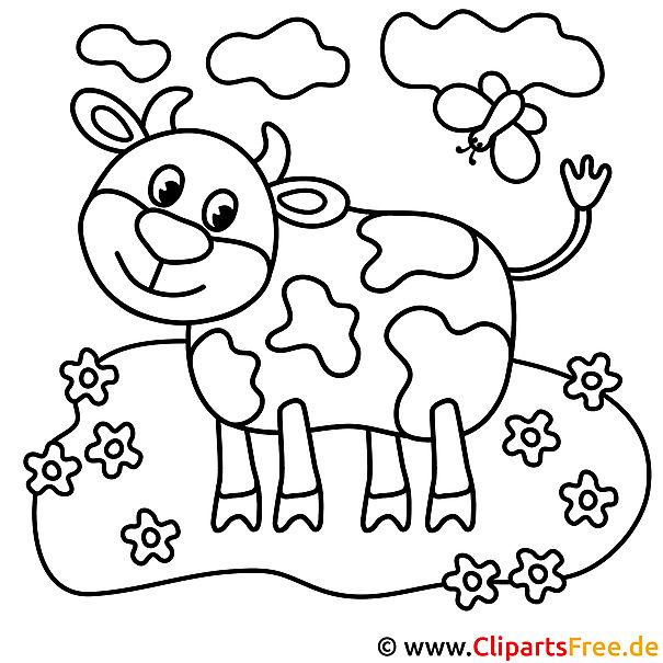 Kuh Bild zum Ausmalen, Malvorlage
