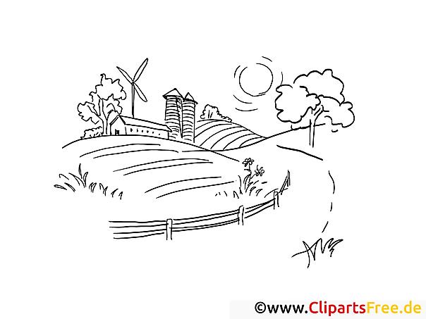 Landschaft - Ausmalbilder zum Ausdrucken zum Thema Bauernhof