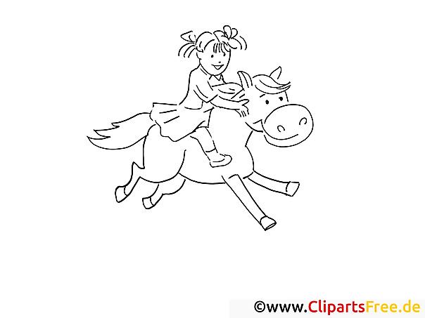 mädchen reitet auf dem pferd  gratis ausmalbilder und