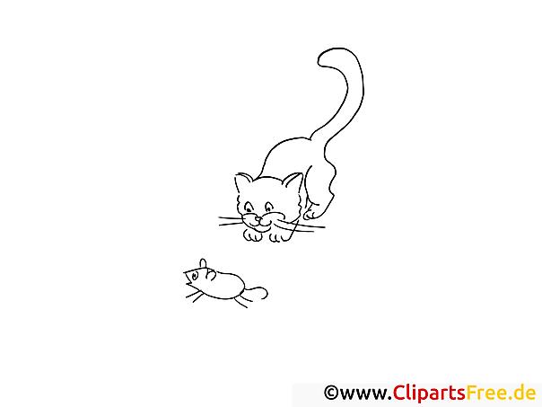 Maus und Katze - Gratis Ausmalbilder und Malvorlagen für Kinder