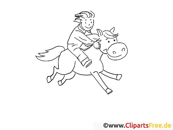 Pferd reiten Malvorlage-Ausmalbild
