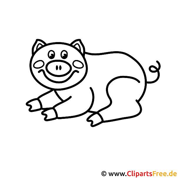 Schweinchen Bild zum Ausmalen, Malvorlage