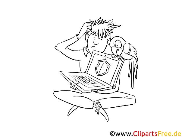 Mensch mit Notebook Bild, Clipart, Illustration schwarz-weiß zum Malen