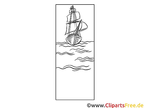 lesezeichen zum ausdrucken mit schiff