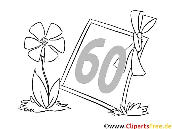 blume zum 60 geburtstag ausmalbild kostenlos
