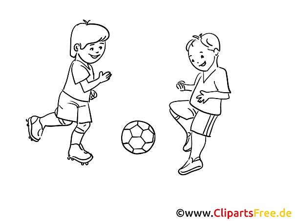kinder spielen fussball malvorlage