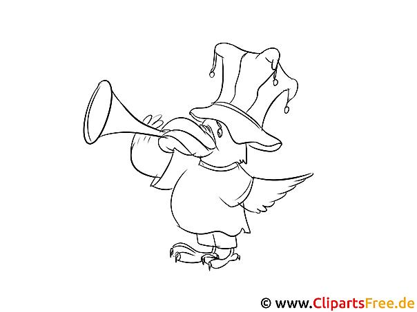 rabe mit trompete sport malvorlage