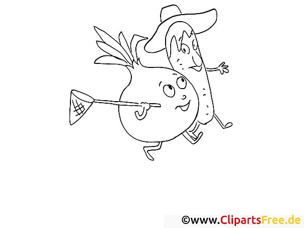 cartoongemüse malvorlage gratis zum herunterladen und