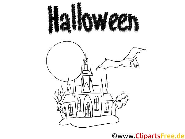ausmalbilder halloween fledermaus und burg