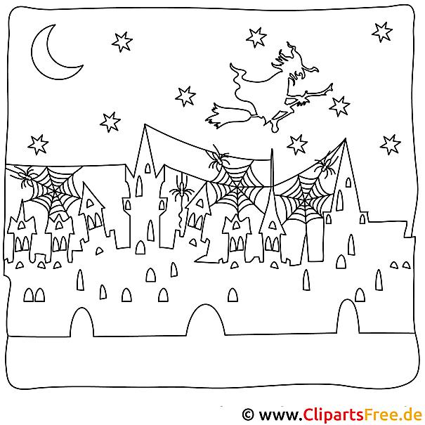 Halloween Ausmalbild fuer Malunterricht