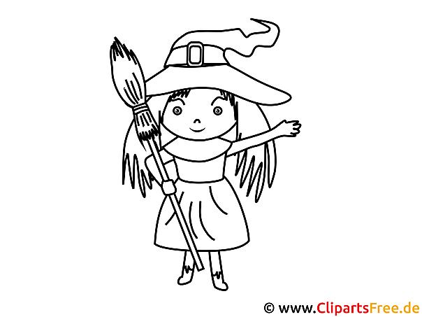 Kleine Hexe mit Besen Bild-Malvorlage zum Drucken und Ausmalen