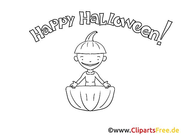 Lustige Malvorlage zu Halloween