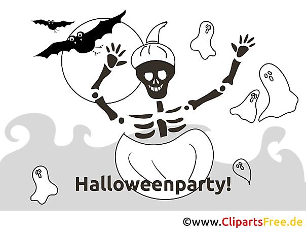 skelett kürbis halloween malvorlageeinladung