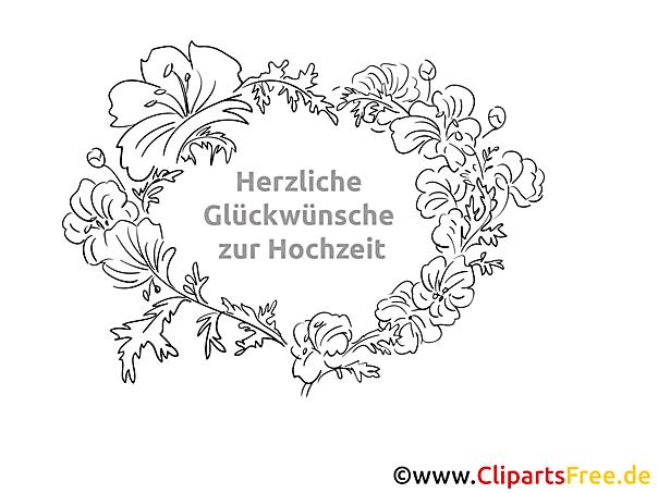Blumenrahmen mit Glückwünschen zur Hochzeit zum Ausmalen gratis