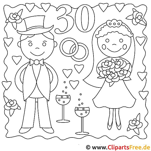 Braut und Braeutigam Ausmalbild zum Ausmalen