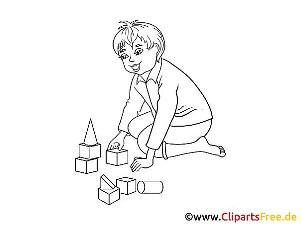 kind spielt mit bauklötzen bild clipart illustration