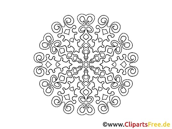 Muster Mandala-Vorlage zum Drucken und Malen