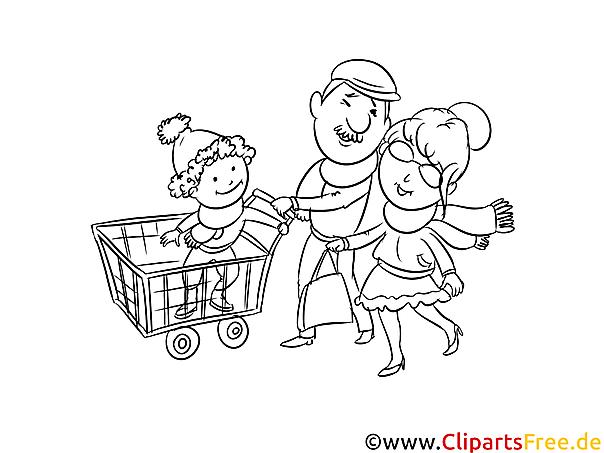 familie beim einkaufen zeichnung schwarzweiß malvorlage