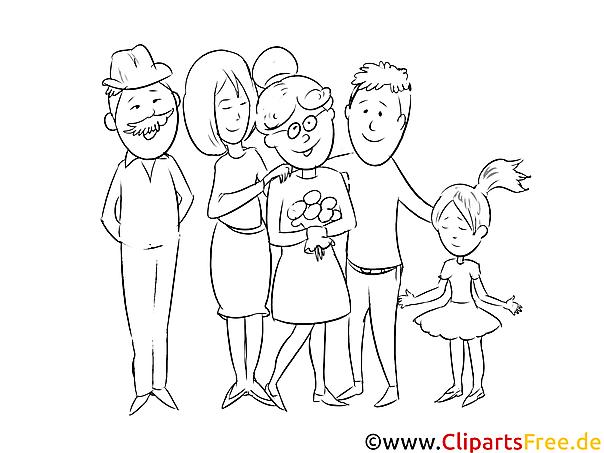 familie malvorageausmalbild