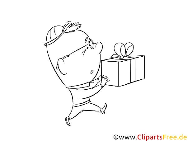 junge mit geschenk malvorlage