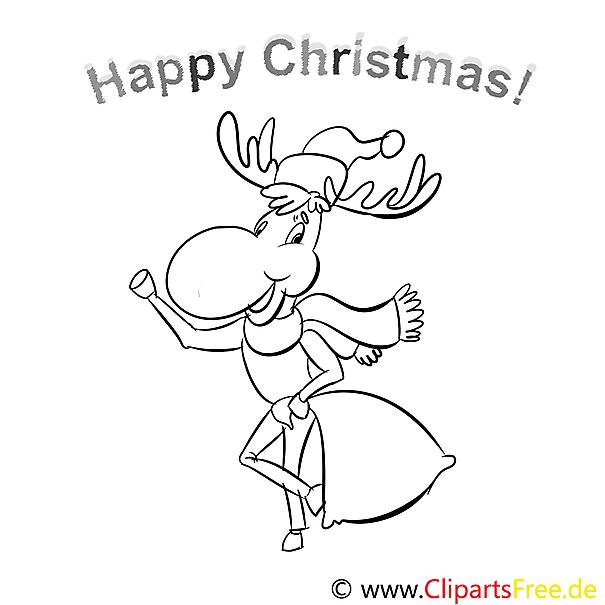 hirsch sack merry christmas coloring sheets malvorlagen