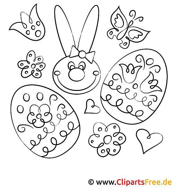 kanninchen und eier  ausmalbild ostern