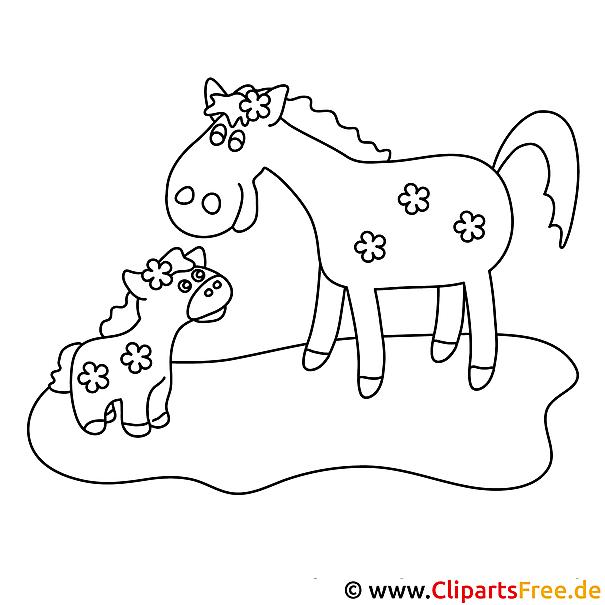 fohlen und pferd  pferde malvorlagen kostenlos