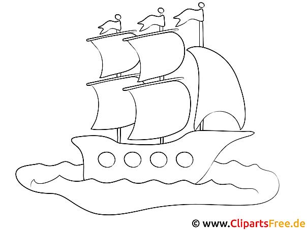 segelschiff reisen ausmalbild