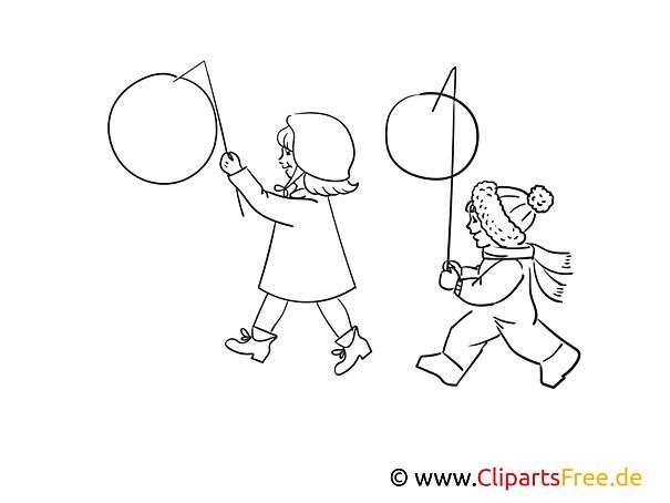 kinder mit laternen bild schwarzweiß illustration