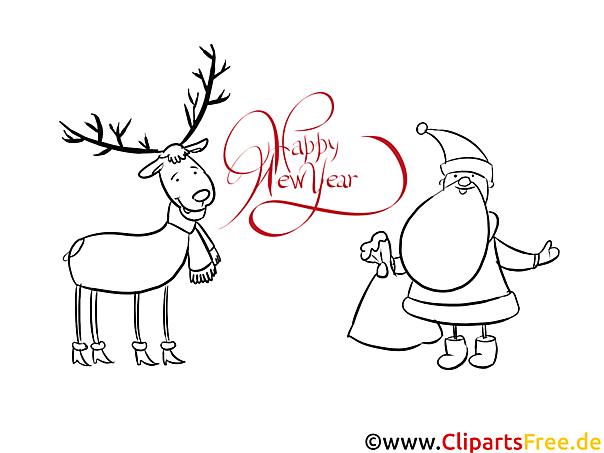 hirsch weihnachtsmann happy new year coloring malvorlage