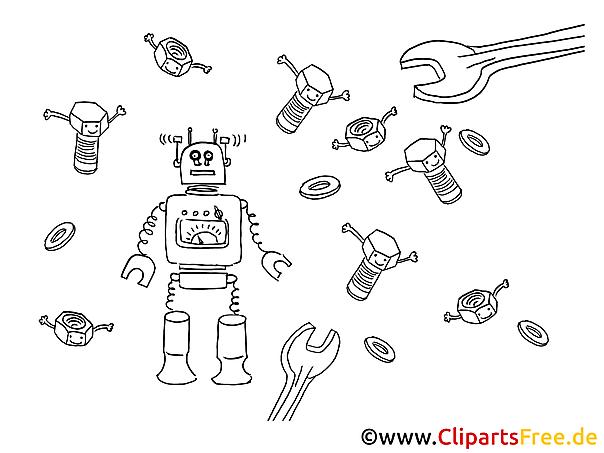 roboter und werkzeuge malvorlage bild grafik zum ausmalen