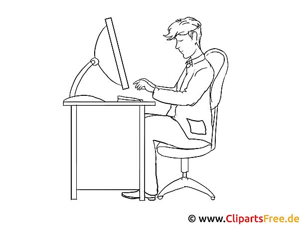 mann im büro ausmalbild