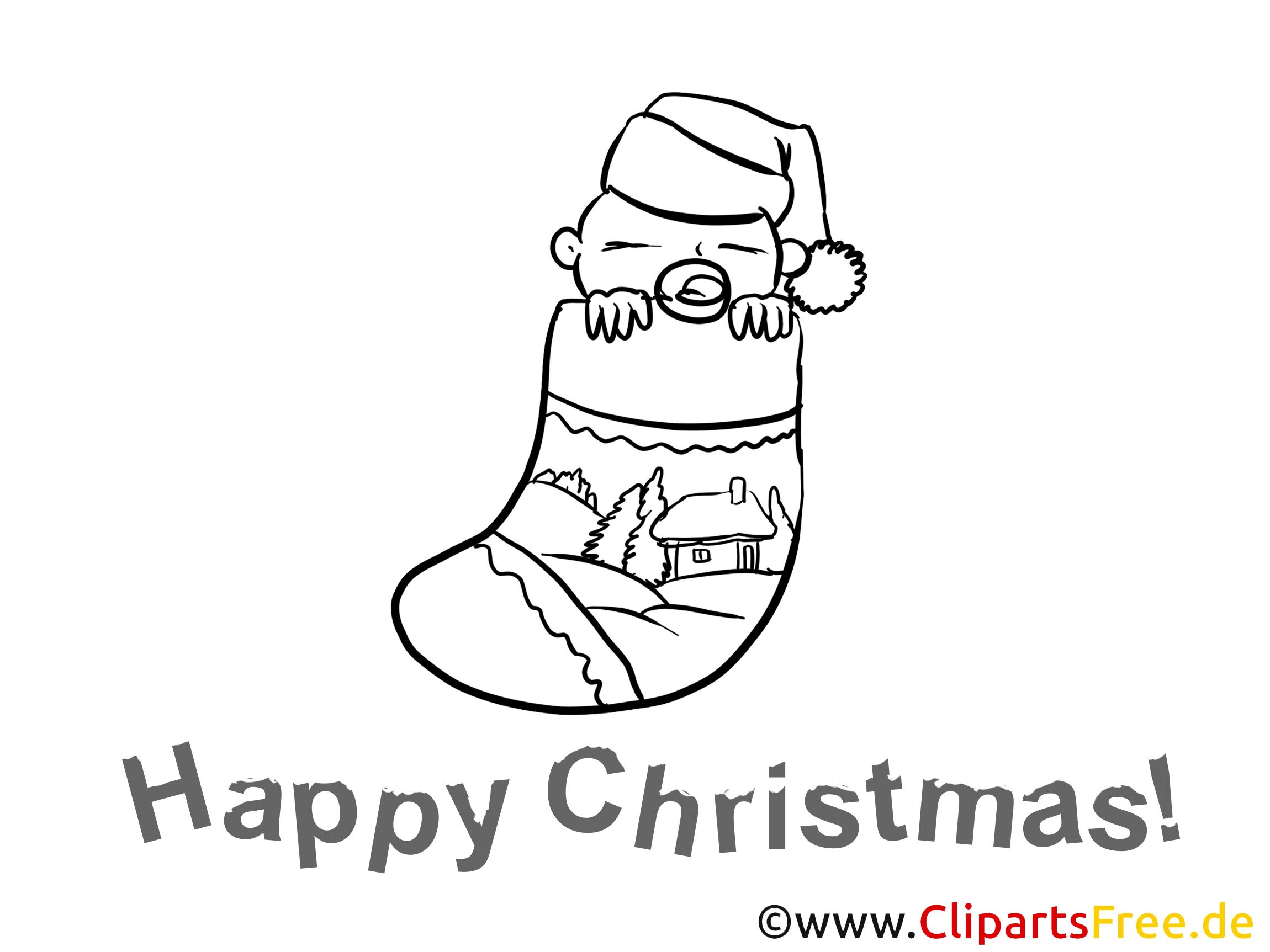 Baby im Weihnachtssocken Malvorlage gratis