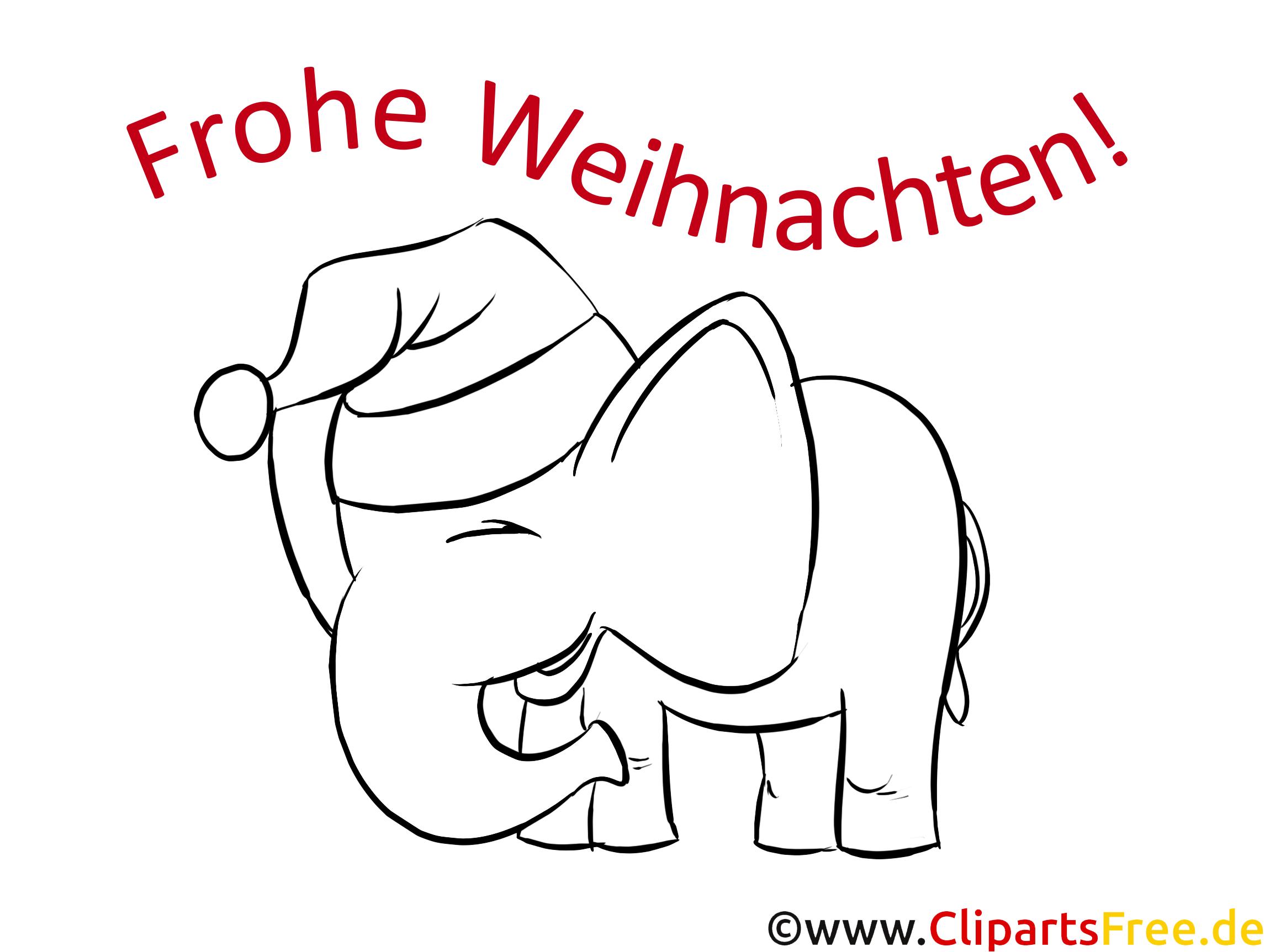 Elefant Merry Christmas Kostenlose Window Color Bilder und Fensterbilder