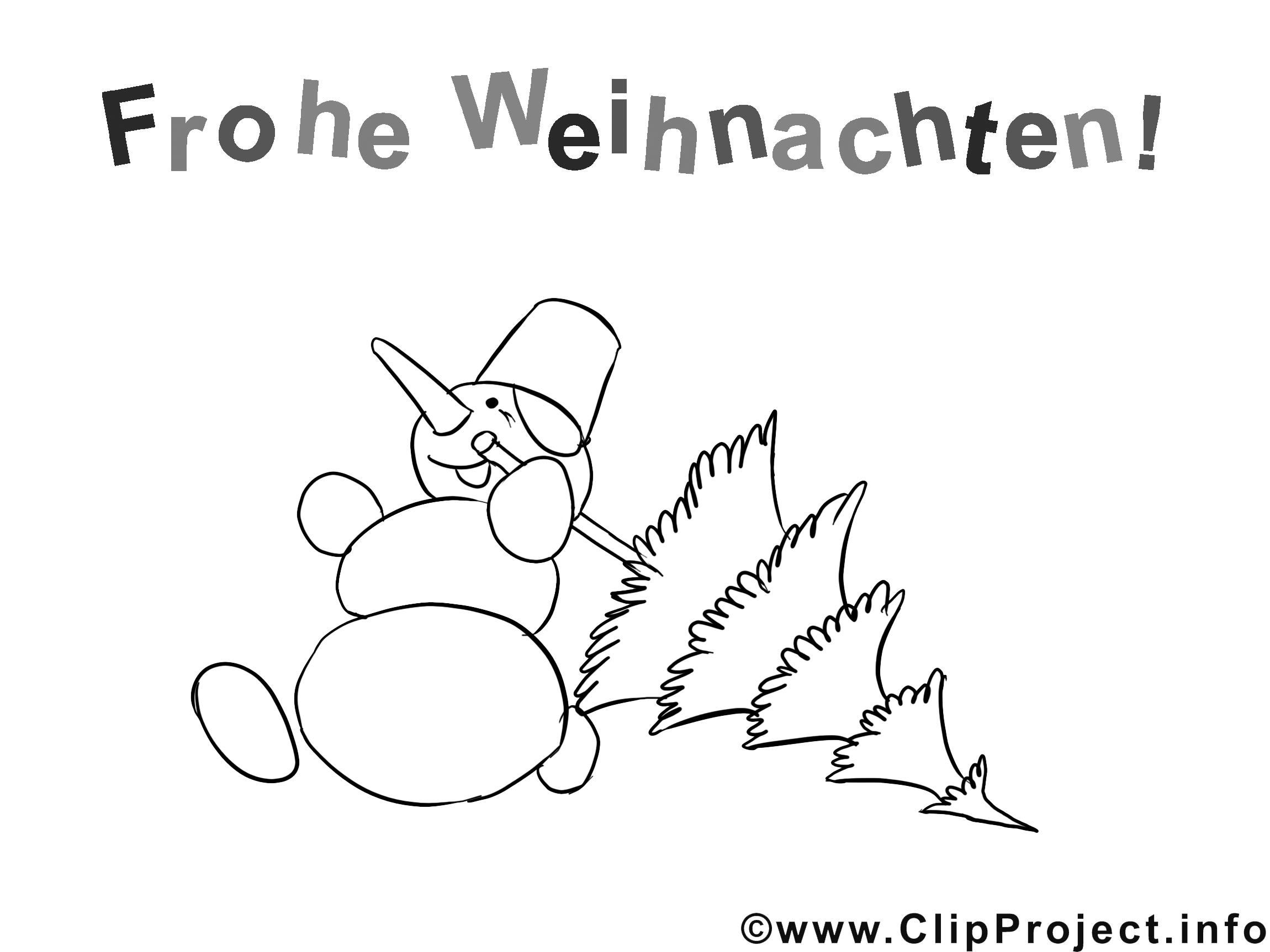Laufender Schneemann mit Tannenbaum Ausmalbild zum Ausmalen