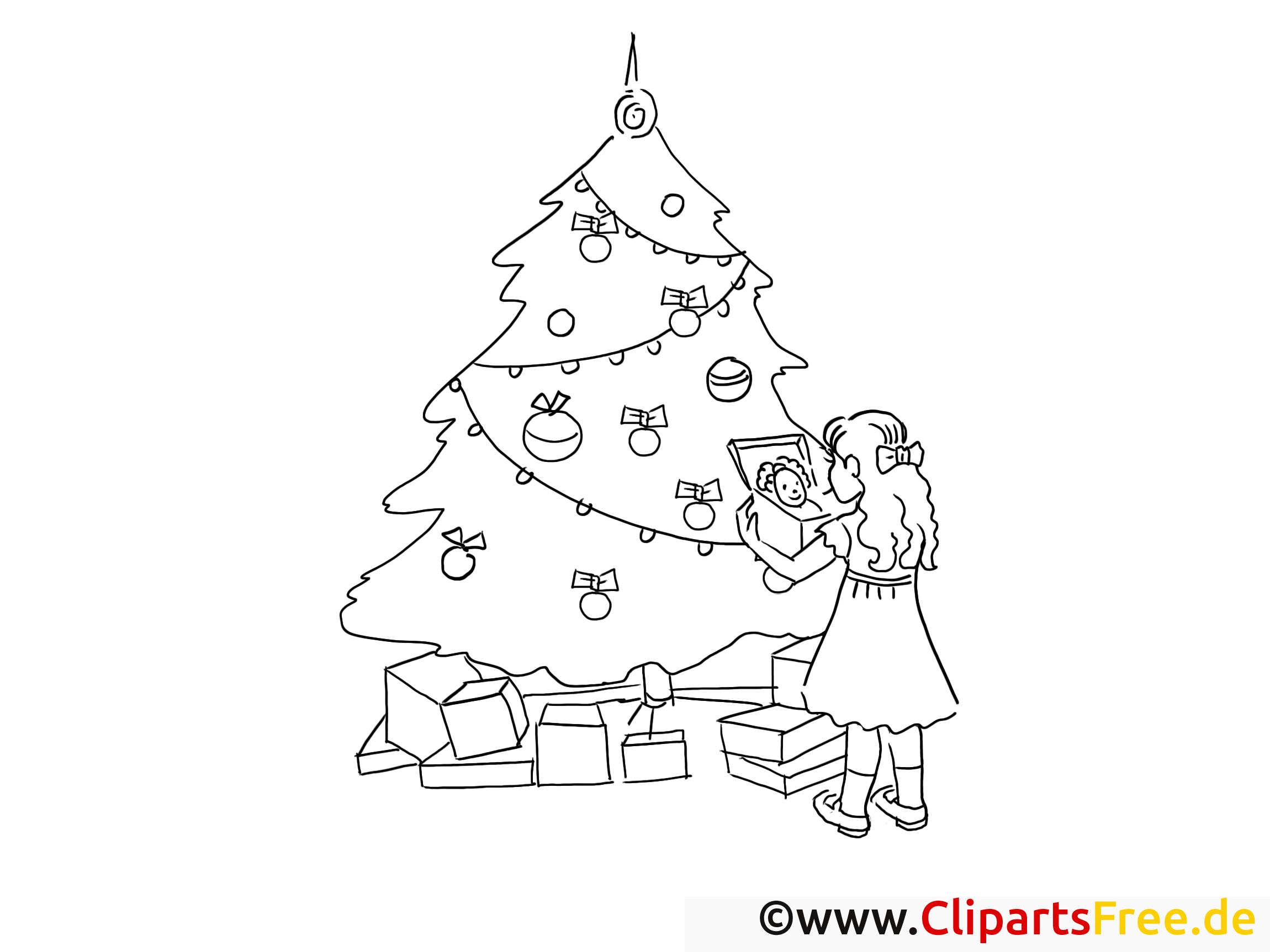 Mädchen bekommt Geschenke zu Weihnachten Ausmalbild