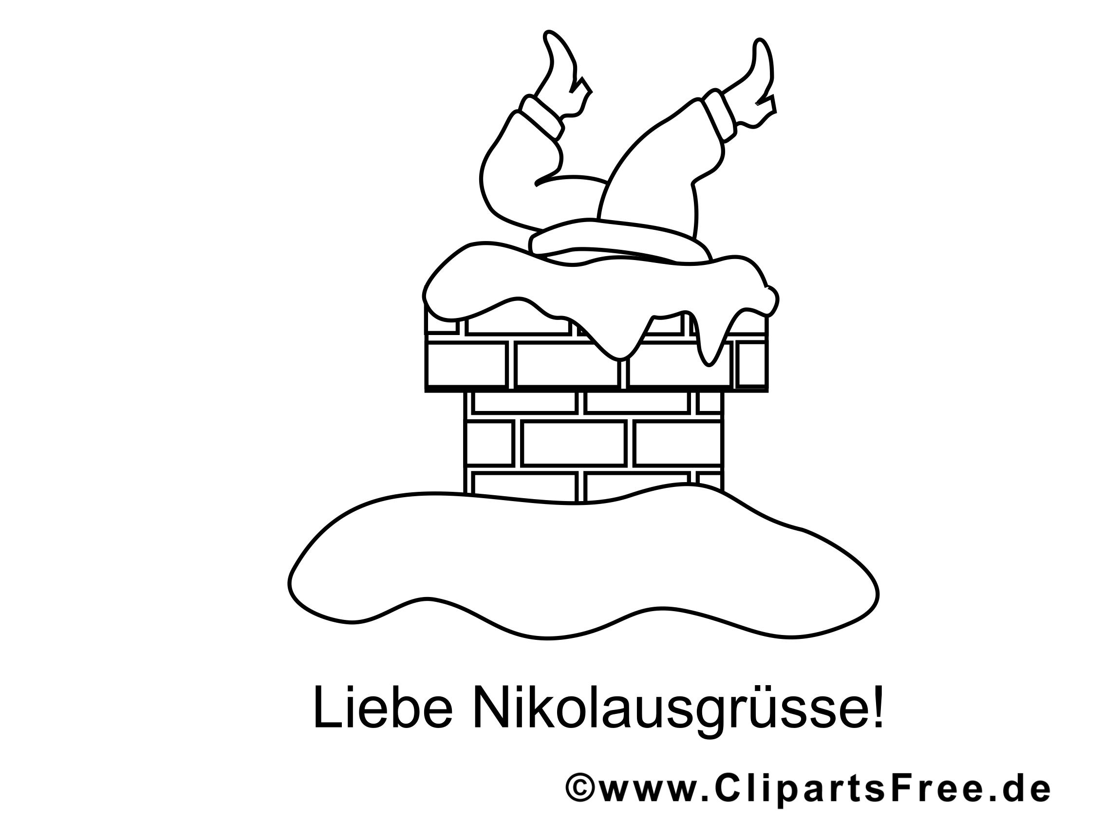 Nikolaus im Schornstein Malvorlage für Kinder