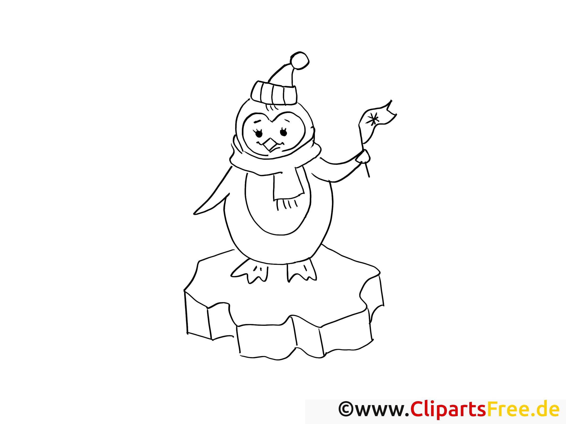 pinguin mit fahne ausmalbilder gratis für kinder