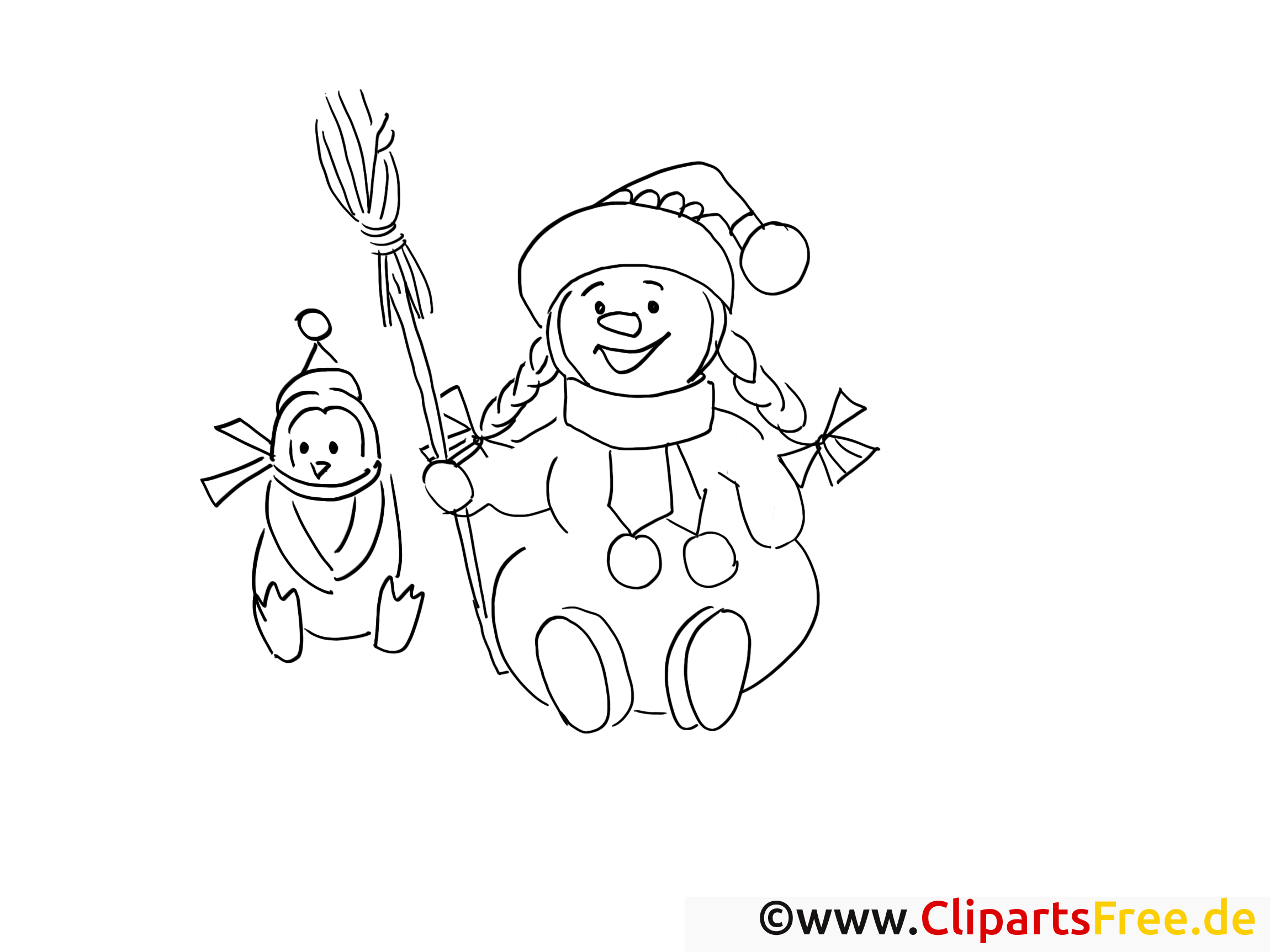 schneemann mit pinguin ausmalbilder gratis für kinder